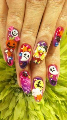 Cute Spongebob Halloween nail ideas