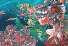 This is a painting I did for the Truly Deeply 2010 Art for Heart exhibition/charity auction. Which is always a fantastic event. My other painting for th. Shine On Darling Sea Creatures, Mermaid, Deviantart, Artwork, Artist, Anime, Painting, User Profile, Breakfast
