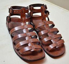 Leather Gladiator Sandals - BROWN - Handmade Sandals