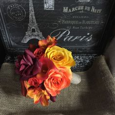Orange Yellow Burgundy Fall Wedding Bouquet, Orange Bouquet, Orange Rose Bouquet, Burlap Bouquet, Fall Orange Bouquet Rustic