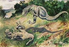 Charles Knight's famous leaping Allosaurs. #dinosaurs  http://www.extramoeniart.it/mi-ritorna-in-mente/jurassic-art-immaginare-i-dinosauri