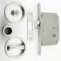 Circular Design Bathroom Hook Lock For Sliding Pocket Doors - With Turn And Release - Polished Chrome  WHAT SIDE IS THE DOOR TO BE LOCKED FROM OR DO YOU NEED A KEY TO LOCK FROM BOTH SIDES?