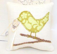Love Bird Ring Bearer Pillow, Modern Light Green Leaves and Swirls, Cream, Burlap Branch, Spring Wedding