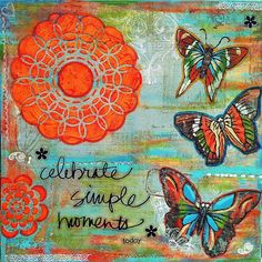 """Original Mixed Media on Canvas  Folk Art """"Create Simple Moments"""" by ErinDuFraneArt on Etsy, $50.00"""