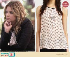 Hanna's heart print ruffled top on Pretty Little Liars. Outfit Details: http://wornontv.net/24940 #PrettyLittleLiars #fashion #PLL