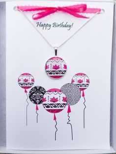 """Pink Balloons Birthday Card -This adorable birthday card has a tribal flair and on trend designs that are perfect for a fashionista. Includes a 5"""" x 7"""" white gift box filled with cotton and topped with our colorful Girl Power  logo.  It's wrapped with a bright ribbon so it's ready for you to give as a gift. Happy Birthday Greeting Card, Birthday Wishes, Birthday Cards, Pink Balloons, Birthday Balloons, Power Logo, White Gift Boxes, Matching Necklaces, Design Trends"""