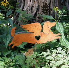 Rusty Metal Long Haired Dachshund Doxie Dog Angel Memorial Garden Art Yard Stake