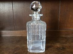 Vintage French square glass drinks spirits whisky brandy decanter circa 1930-40's Purchase in store here http://www.europeanvintageemporium.com/product/vintage-french-square-glass-drinks-spirits-whisky-brandy-decanter-circa-1930-40s/