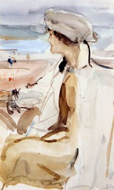 'Isaac' Lazarus Israels (Dutch, 1865-1934) - A portrait of Lola Cornero, Scheveningen - Watercolour on paper, circa 1919