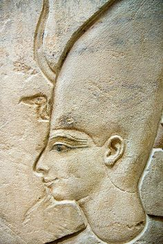 Paris,The Louvre - Ancient egyptian head carved on stone panel