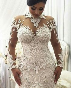 2020 Mermaid Wedding Dresses Nigeria High Neck Full Back Dubai Arabic Castle Bridal Gowns Plus Size Long Sleeve Wedding Dress Wedding Dress Black, Lace Mermaid Wedding Dress, Long Wedding Dresses, Bridal Dresses, African Wedding Dress, Bridesmaid Dresses, Lace Dresses, Dress Lace, Chanel Wedding Dress