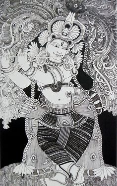 Krishna in Black and White - Reprints of Temple Murals (Reprint on Paper - Unframed) Kerala Mural Painting, Krishna Painting, Indian Art Paintings, Madhubani Painting, Krishna Art, Lord Krishna, Zentangle Drawings, Outline Drawings, Phad Painting