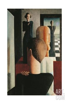 Four Figures in a Room, 1925 Stretched Canvas Print by Oskar Schlemmer at eu.art.com