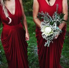 Red wine, fishtail braids, white blooms - bridesmaids on point @noraandelle_bridesmaids