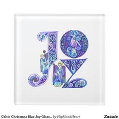 Celtic Christmas Blue Joy Glass Coaster