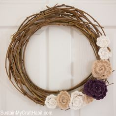 In the depth of winter, a soft spring wreath brings hope for warmer days.  Create your own Mulberry Branch round wreath and crochet flowers with the  step-by-step instructions in this blog post.