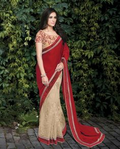 1. Red and Cream brosso net and silk net saree 2. Cream brasso net , highlighted with glitter work 3. Velvet border all over highlighted with stones 4. Georgette silk pallu with velvet border 5. Comes with a matching semistutched blouse