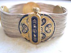 Vintage Byzantine Style Turkish Bracelet - Multi Chain - Sterling Silver and Enamel Mesh Bracelet