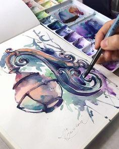 Work in process sketch by kristina gavrilova Watercolor Art Diy, Watercolor Art Paintings, Sea Paintings, Painting Art, Watercolour Tutorials, Watercolor Artists, Art Journal Inspiration, Art Inspo, Drawn Art