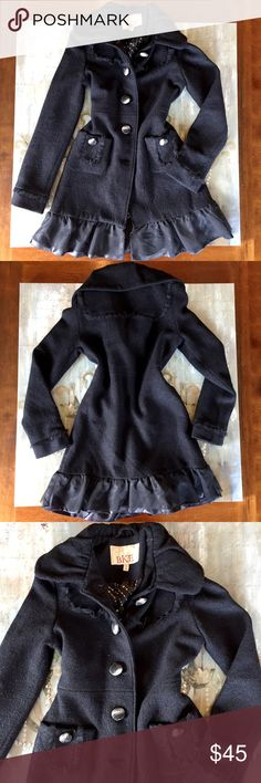 Vintage Appealing Dress Coat This coat is a very well made vintage appealing dress coat! Size Small but will fit an XS too! This coat has two real front pockets and black sheer material detailing on the front back and the tutu at the bottom! The tutu at the bottom of the coat has two layers a elegant shiny black covered in a black sheer material too!⭐This dress jacket is not in PERFECT CONDITION! BKE Jackets & Coats