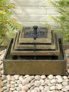 Smart Solar Slate Tiered Solar Fountain Garden Water Feature