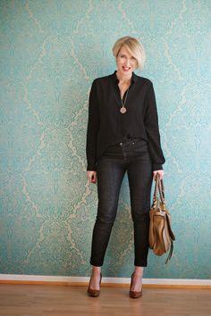 Büro Outfit mit schwarzer Jeans und Bluse