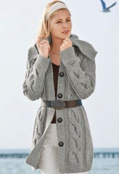 Hand knit Long Jacket -Coat With Wide Collar and Cables Merino Wool Pi…