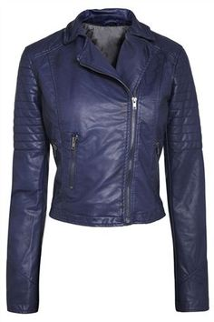 Buy Blue Leather Look PU Biker Jacket from the Next UK online shop