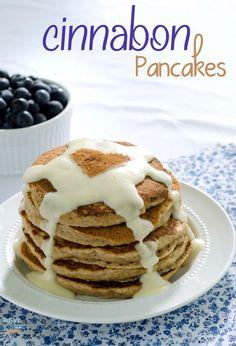 Cinnabon Pancakes -the cinnamon roll with cream cheese glaze pancake recipe that will rock your world SuperGlueMom.com