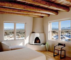 Bedroom with a view~and a kiva fireplace~~~