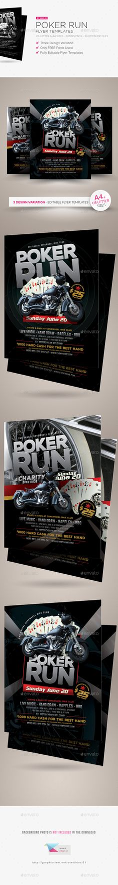 Poker Run Flyer Templates  #summer #bbq #poker • Click here to download ! http://graphicriver.net/item/poker-run-flyer-templates/15918103?ref=pxcr