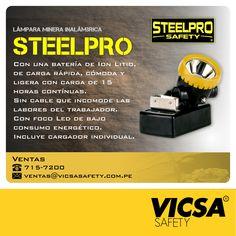 [STEELPRO: Lámpara Minera Inalámbrica Steelpro]  Conoce nuestros productos en: http://www.vicsasafety.com.pe/inicio  Consulta con tu asesor de ventas. Contáctanos: 715-7200 / ventas@vicsasafety.com.pe Twitter: @VicsaSafPeru Pinterest: VICSA Safety