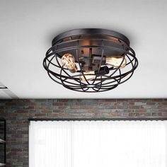 Cecilia Antique Industrial Black Iron Flush-mount Chandelier (Antique Black, Iron Cage, Flush Mount), The Lighting Store Flush Mount Chandelier, Flush Mount Lighting, Flush Mount Ceiling, Design Industrial, Industrial Lighting, Industrial Style, Urban Industrial, Industrial Basement, Cage Light Fixture