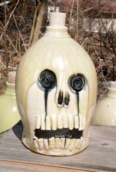 skull bottle by MoonshineJug on Etsy