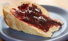 pomegranate plum jam on homemade challah toast