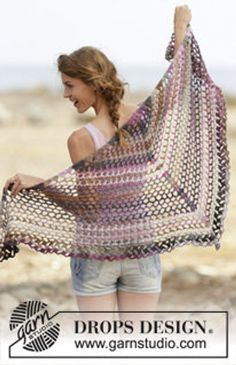 Crochet Butterfly Summer Women's Triangle Shawl with Variegated Color, Wrap, Scarf, Sarong, Wool, Cu