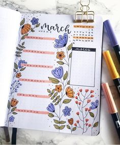 Floral March bullet journal - #Bullet #Floral #Journal #layout #March