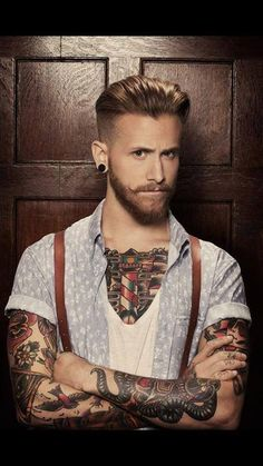 Don't know where to pin it... The guy is F**king hot. The tattoos are hot. Love the style and Like the hair cut... I'm confused!!!