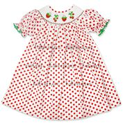 Strawberry girl smocked bishop dress - DR 1552. Feature:  Lovely bishop dress for baby girls with strawberry hand smocked pattern around the neck.  Material: White with red dots  Supply type: OEM service.  Technic : Hand smocked