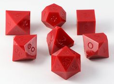 Gamescience Dice (Opaque Red) | 7 Piece RPG Precision Dice Set – Dark Elf Dice