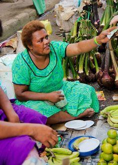 selling bananas in Nadi Markets, Fiji