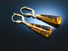 Lovely vintage amber drops earrings! Paar Bernstein Ohrringe Gold 333 Bernstein Tropfen, Bernsteinschmuck bei Die Halsbandaffaire