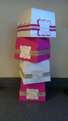 Cupcake boxes; cute idea for a bridal shower.