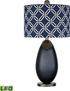 0-030320>Sevenoakes 1-Light LED 3-Way Table Lamp Navy Blue / Black Nickle