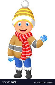 Cartoon a boy in Winter clothes waving hand vector image on VectorStock