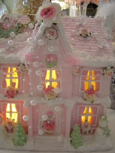 Pink Shabby Pink Chic Christmas Lighted Village House and More