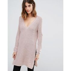 Only Deep V Neck Long Knit Jumper with Side Split ($33) ❤ liked on Polyvore featuring tops, sweaters, pink, long v neck sweater, low v neck sweater, deep v neck sweater, long sweaters and pink jumper