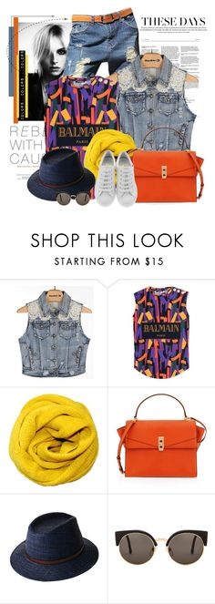"""""""Sem título #2471"""" by bellerodrigues ❤ liked on Polyvore featuring White Crow, Balmain, Henri Bendel, RetroSuperFuture and Salvatore Ferragamo"""