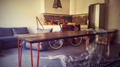 Just arrived! Our orange fusioned dark wooden table. 240x90. Huge one! #unpacking started!