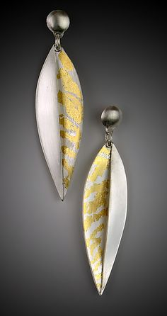 Botanica Earrings by Marcia Meyers: Gold & Silver Earrings available at www.artfulhome.com